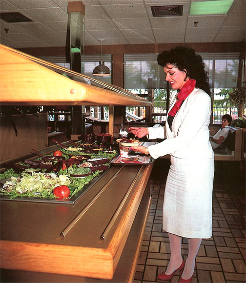 Salad bar at Burger King in the 1980s