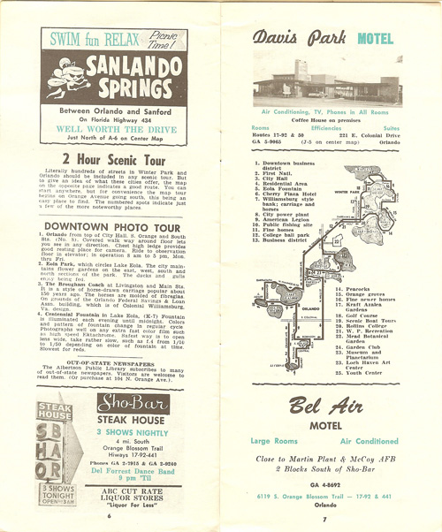 Orlando in the 1960s sanlando springs sho-bar steak house