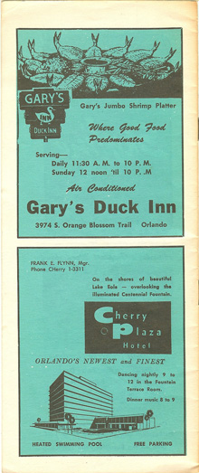 Orlando in the 1960s gary's duck inn