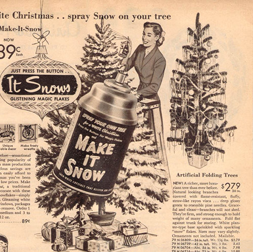 1952 Sears Catalog Artificial Christmas Tree and canned snow