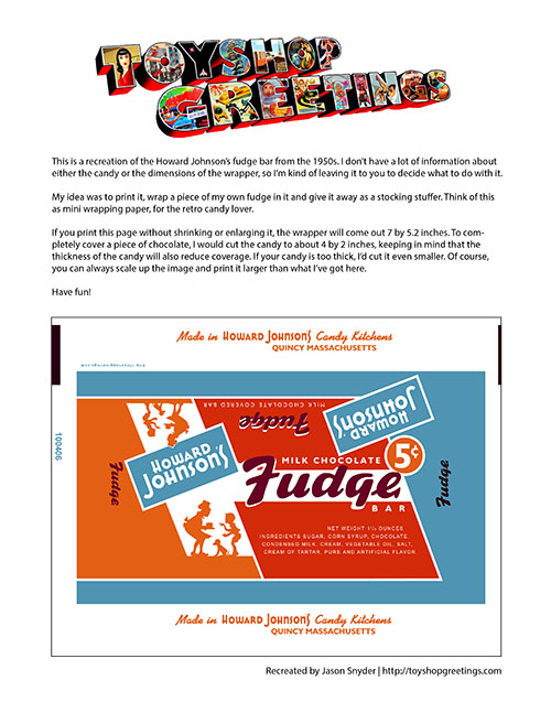 Howard Johnson's Fudge Candy Wrapper Papercraft